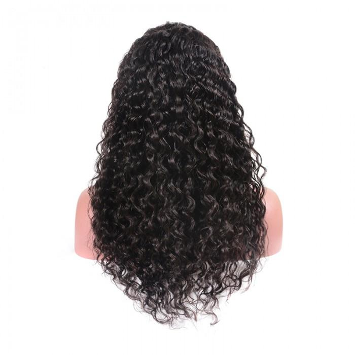 Pre-Plucked 360 Lace Frontal Wig Virgin Hair Water Wave #1B