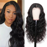Pre-Plucked 360 Lace Frontal Wigs Virgin Hair Body Wave Wig #1B