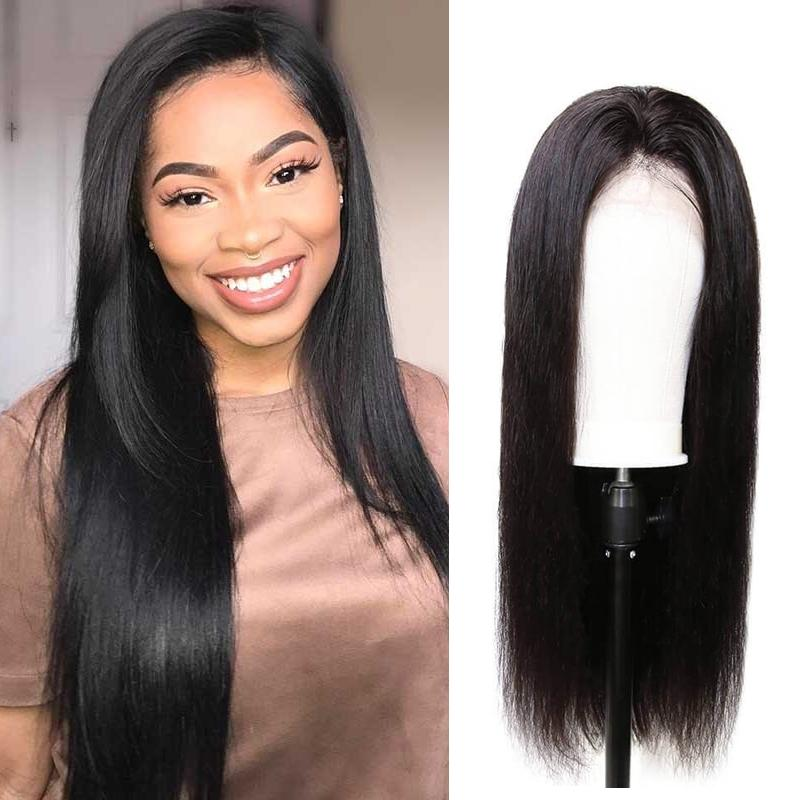 Pre-Plucked 360 Lace Frontal Wig Virgin Hair Straight #1B