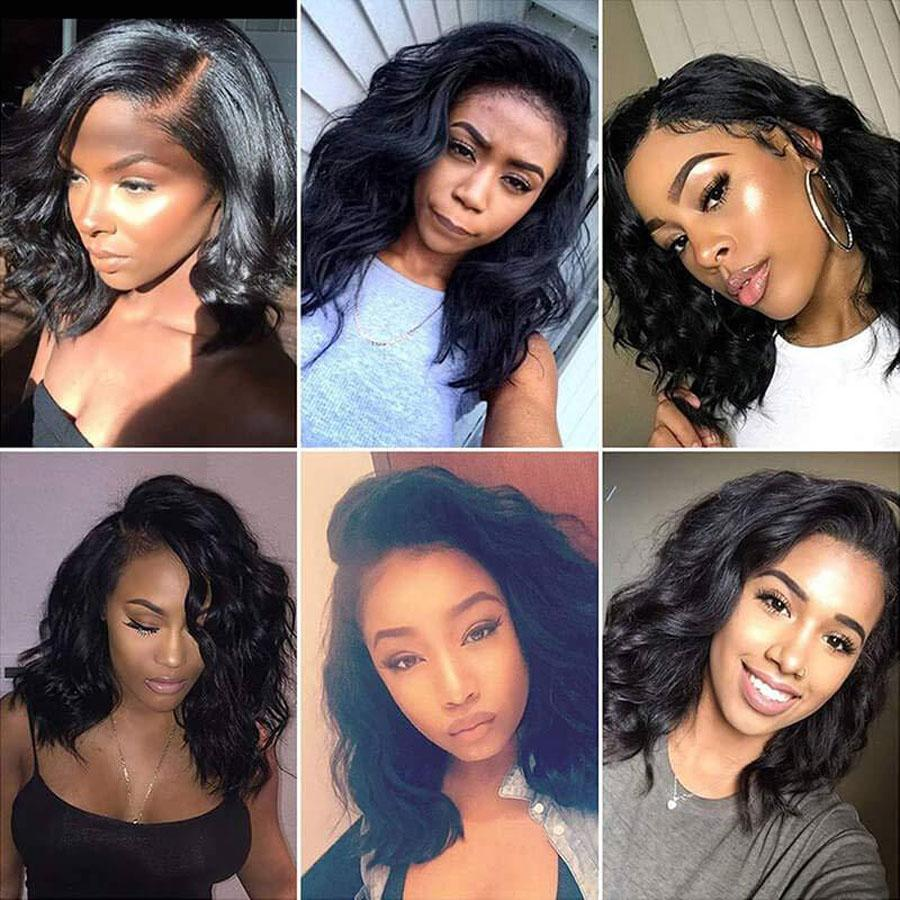Pre-Plucked Virgin Hair Lace Front Bob Wig Body Wave #1B
