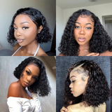 Pre-Plucked Virgin Hair Lace Front Bob Wig Deep Wave #1B