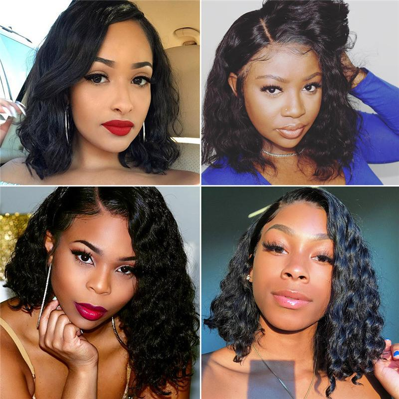 Pre-Plucked Virgin Hair Lace Front Bob Wig Loose Wave #1B
