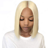 Pre-Plucked Human Remy Hair Lace Front Bob Wig Straight (#613 Blonde)