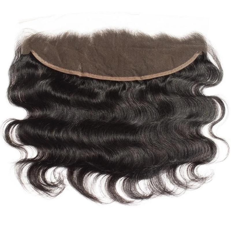 10 – 20 Inch Virgin Hair Body Wave Lace Frontal (#1B Natural Black)