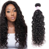 10 – 30 Inch Brazilian Virgin Hair 100% Human Hair Water Wave (#1B Natural Black)