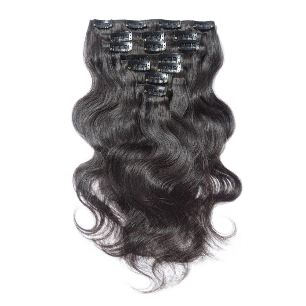 16 – 26 Inch Clip In Remy Hair Extensions Body Wave (#1B Natural Black)