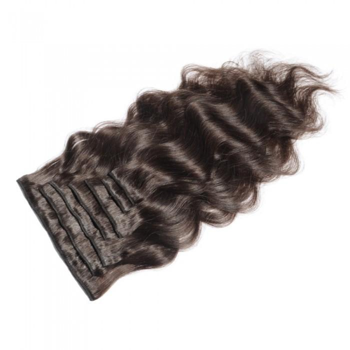 16 – 26 Inch Clip In Remy Hair Extensions Body Wave (#4 Medium Brown)