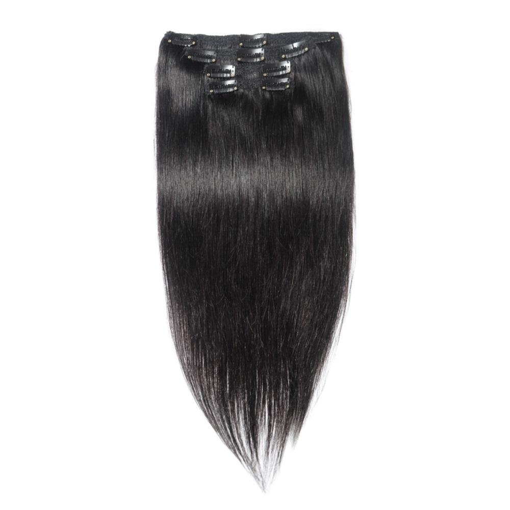 16 – 26 Inch Clip In Remy Hair Extensions Straight (#1 Jet Black)