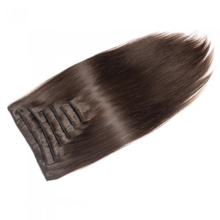 16 – 26 Inch Clip In Remy Hair Extensions Straight (#4 Medium Brown)