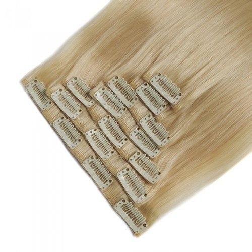 16 – 26 Inch Clip In Remy Hair Extensions Straight (#613 Bleach Blonde)