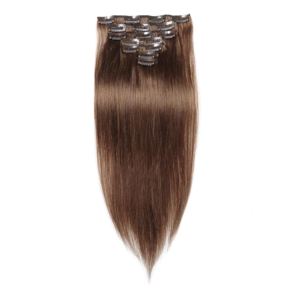 16 – 26 Inch Clip In Remy Hair Extensions Straight (#8 Light Brown)