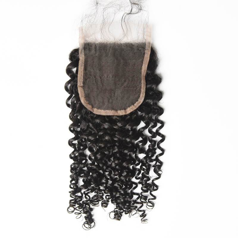 10 – 20 Inch Virgin Hair Natural Curly Lace Closure (#1B Natural Black)
