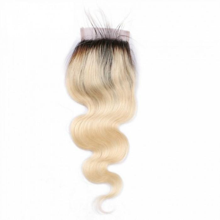10 – 20 Inch Free Part Body Wave Lace Closure #1B/#613 Blonde