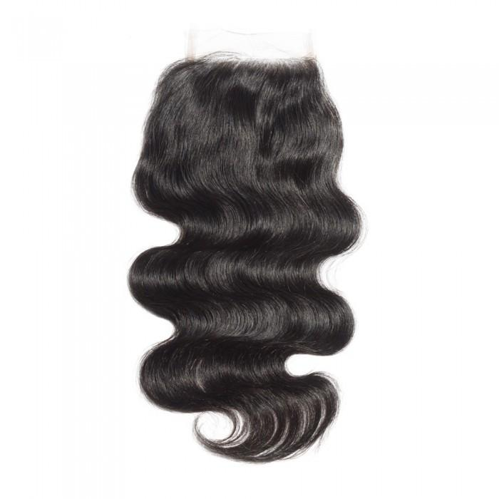 10 – 20 Inch Virgin Hair Body Wave Lace Closure #1B Natural Black