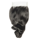 10 – 20 Inch Virgin Hair Loose Wave Lace Closure #1B Natural Black