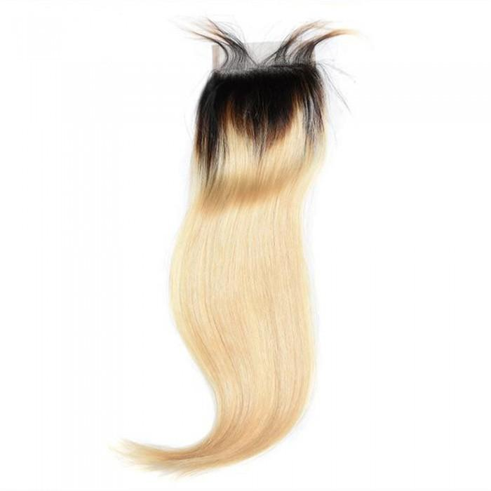 10 – 20 Inch Free Part Straight Lace Closure #1B/#613 Blonde
