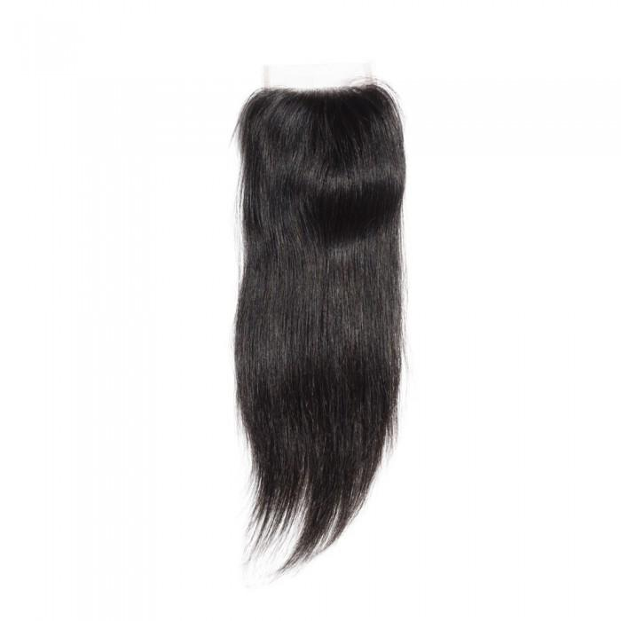 10 – 20 Inch Virgin Hair Straight Lace Closure #1B Natural Black