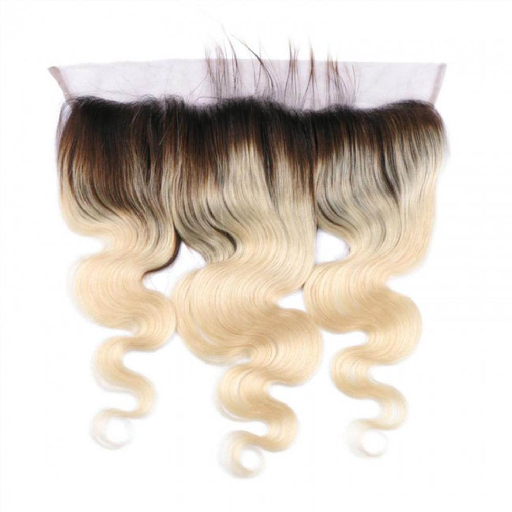 12 – 16 Inch Free Part Body Wave Lace Frontal #1B/#613 Blonde