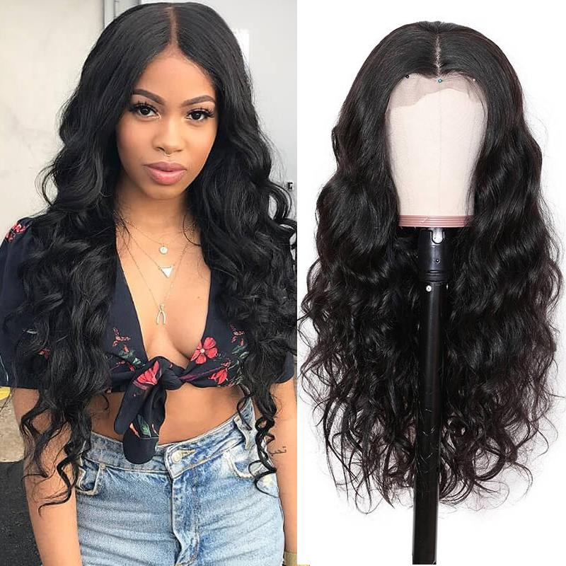Pre-Plucked Full Lace Wigs Virgin Hair Body Wave Wig #1B