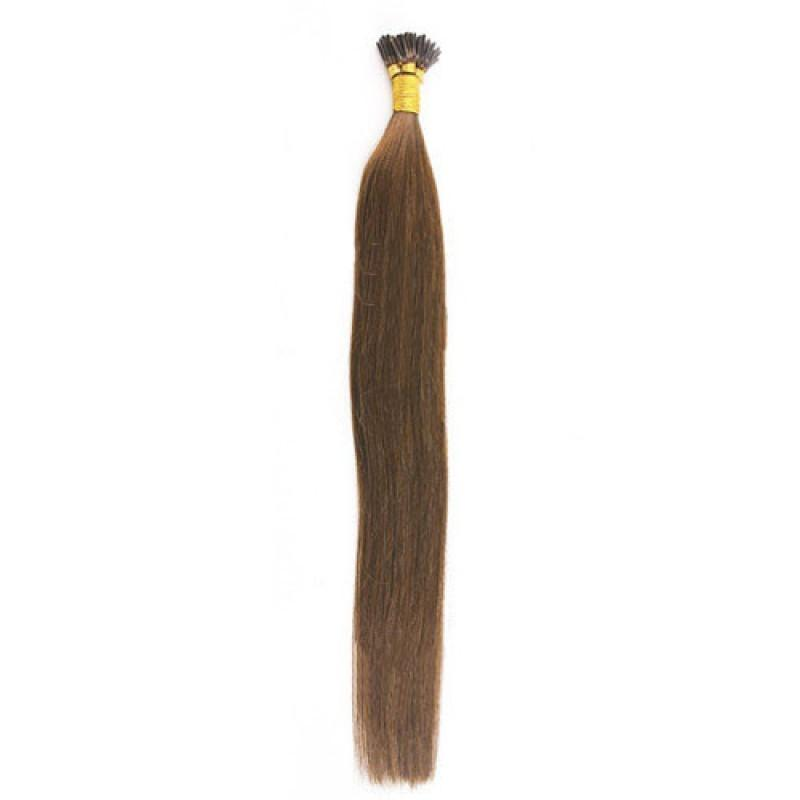 16 – 24 Inch Nail I Tip Remy Hair Extensions Straight (#8 Light Brown)