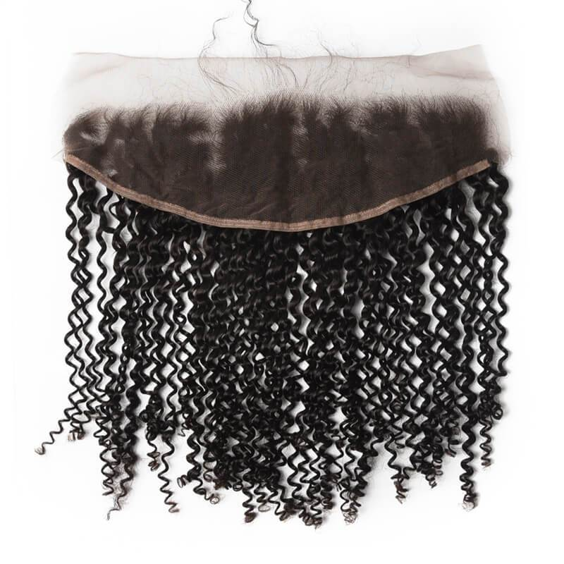 10 – 20 Inch Virgin Hair Kinky Curly Lace Frontal (#1B Natural Black)
