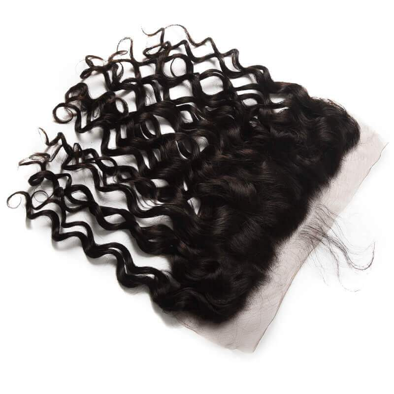 10 – 20 Inch Virgin Hair Natural Wave Lace Frontal (#1B Natural Black)