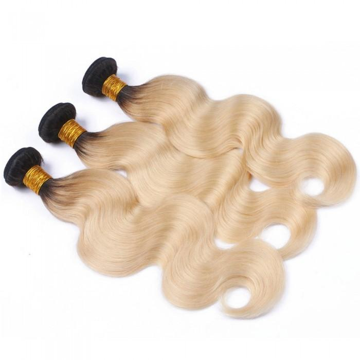 16 – 26 Inch Ombre Hair Human Remy Hair Extensions Body Wave (#1B/#613)