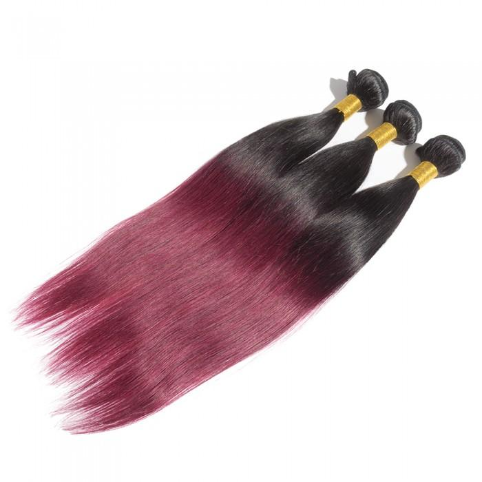 12 – 26 Inch Ombre Hair Human Remy Hair Extensions Straight (#1B/99J Burgundy)