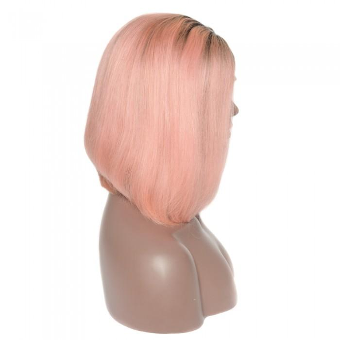 Pre-Plucked Human Remy Hair Lace Front Bob Wig Straight (#1B/Pink)