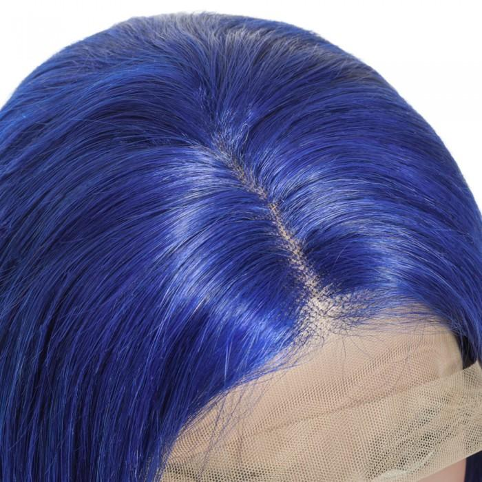 Pre-Plucked Human Remy Hair Lace Front Bob Wig Straight (Blue)