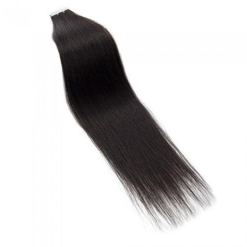 16 – 24 Inch Tape In Remy Hair Extensions Straight (#1B Natural Black)