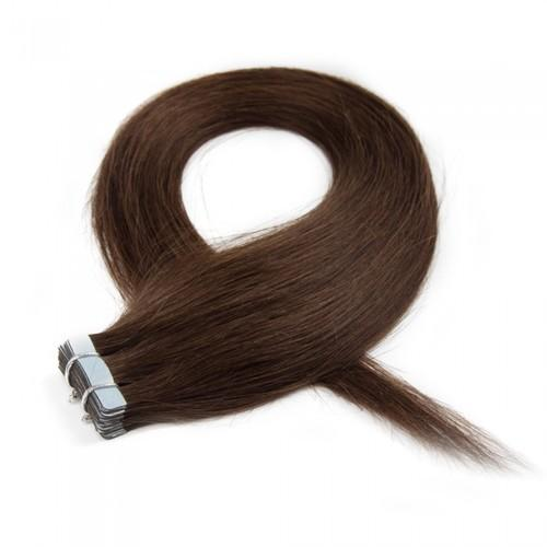 16 – 24 Inch Tape In Remy Hair Extensions Straight (#4 Medium Brown)
