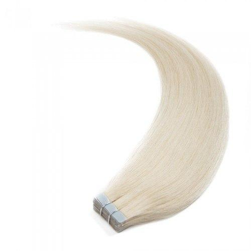 16 – 24 Inch Tape In Remy Hair Extensions Straight (#60 White Blonde)