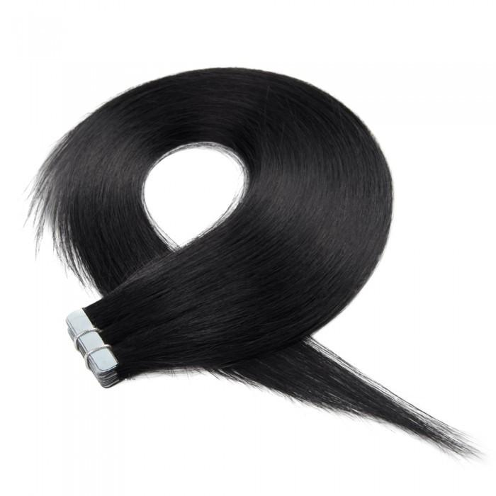 16 – 24 Inch Tape In Remy Hair Extensions Straight (#1 Jet Black)