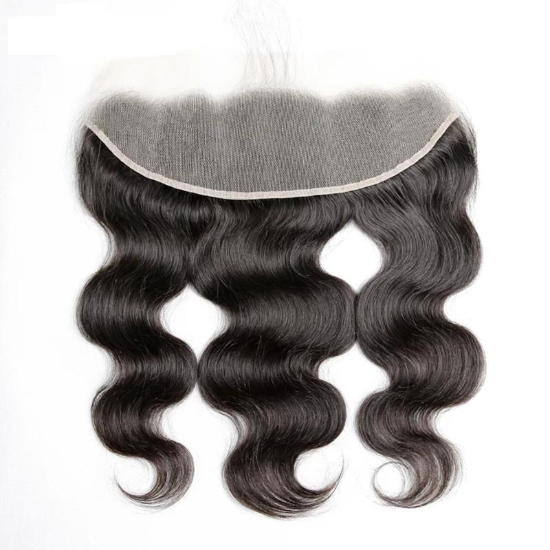 Virgin Hair Body Wave Transparent Lace Frontal (#1B Natural Black)