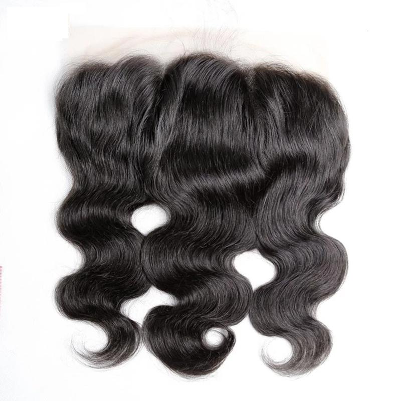 10 – 20 Inch Virgin Hair Body Wave Transparent Lace Frontal (#1B Natural Black)