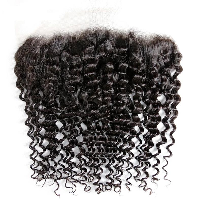 10 – 20 Inch Virgin Hair Deep Wave Transparent Lace Frontal (#1B Natural Black)