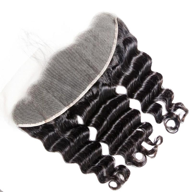 10 – 20 Inch Virgin Hair Natural Wave Transparent Lace Frontal (#1B Natural Black)