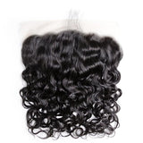 10 – 20 Inch Virgin Hair Water Wave Transparent Lace Frontal (#1B Natural Black)