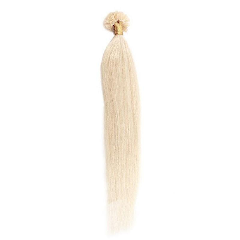 16 – 24 Inch Nail U Tip Remy Hair Extensions Straight (#60 White Blonde)