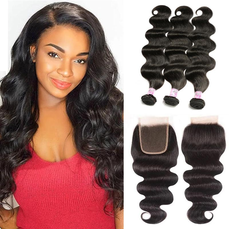Virgin Hair 3 Bundles with Lace Closure Body Wave Hair