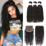 Virgin Hair 3 Bundles with Lace Closure Curly Hair 100% Human Hair