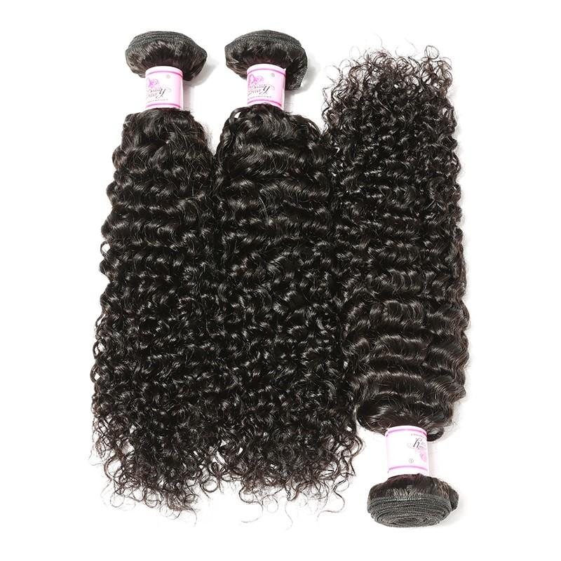 Virgin Hair 3 Bundles with Lace Frontal Curly Hair 100% Human Hair