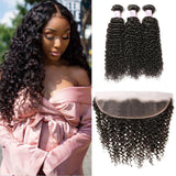 Virgin Hair 3 Bundles with Lace Frontal Curly Hair