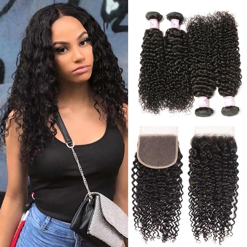 Virgin Hair 4 Bundles with Lace Closure Curly Hair