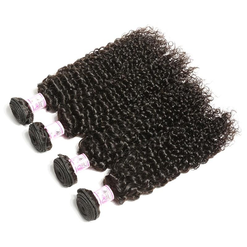 Virgin Hair 4 Bundles with Lace Frontal Curly Hair 100% Human Hair