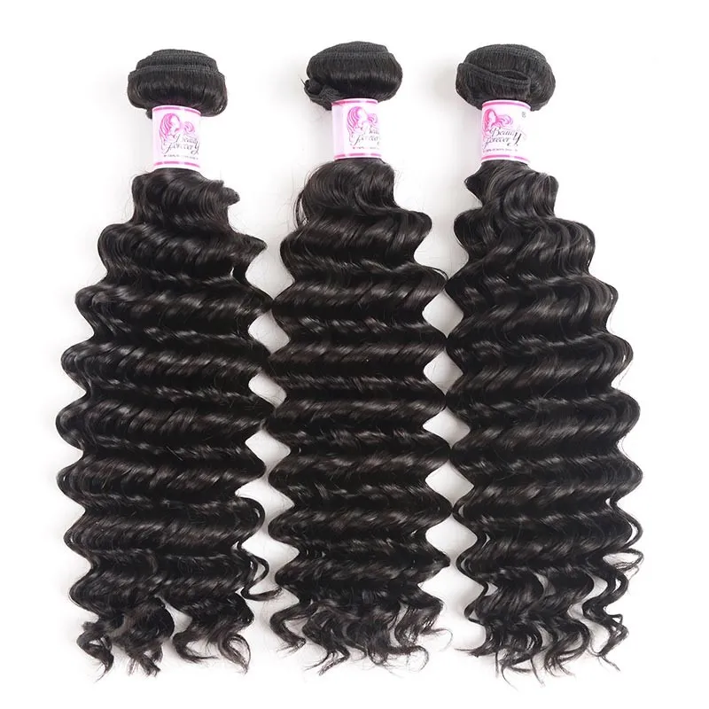 Virgin Hair 3 Bundles with Lace Closure Deep Wave Hair 100% Human Hair