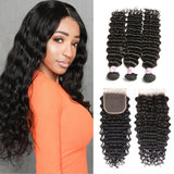 Virgin Hair 3 Bundles with Lace Closure Deep Wave Hair