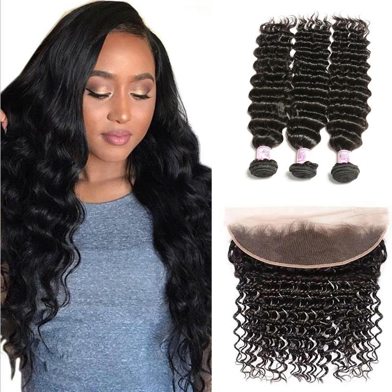 Virgin Hair 3 Bundles with Lace Frontal Deep Wave Hair