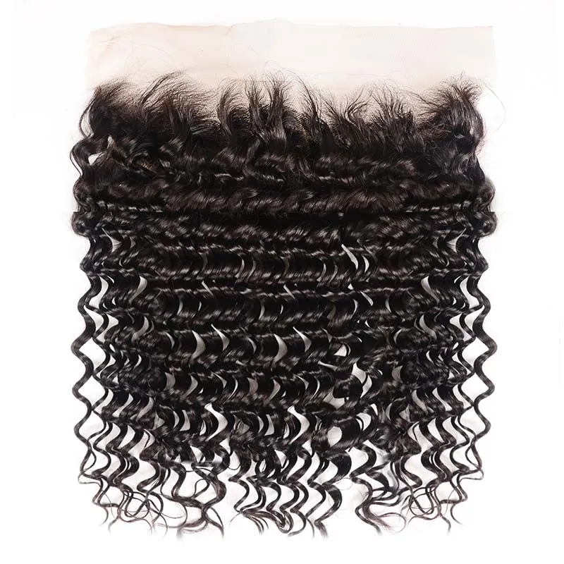 Virgin Hair 3 Bundles with Lace Frontal Deep Wave Hair 100% Human Hair